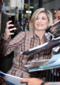 Jodie Whittaker greets her fans as she arrives at 'The Late Show With Stephen Colbert' in New York City