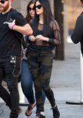 Kacey Musgraves wears a sheer top and camo leggings as she arrives at 'Jimmy Kimmel Live' in Los Angeles
