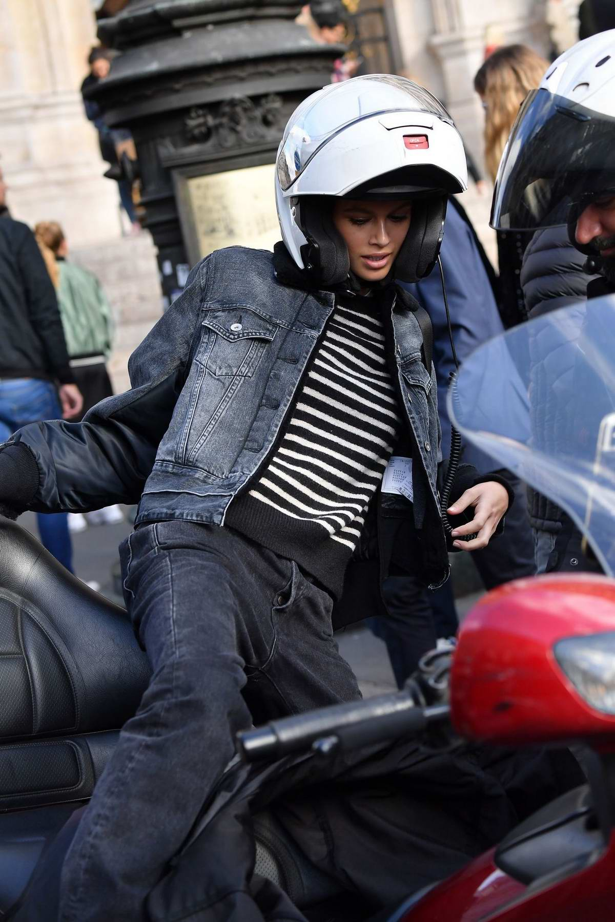 Kaia Gerber spotted as she hops on a motorcycle while out in Paris, France
