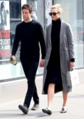 Karlie Kloss and fiance Joshua Kushner stop for a sweet treat while taking a stroll in New York City