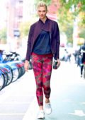 Karlie Kloss sports a colorful Adidas workout gear while out in New York City