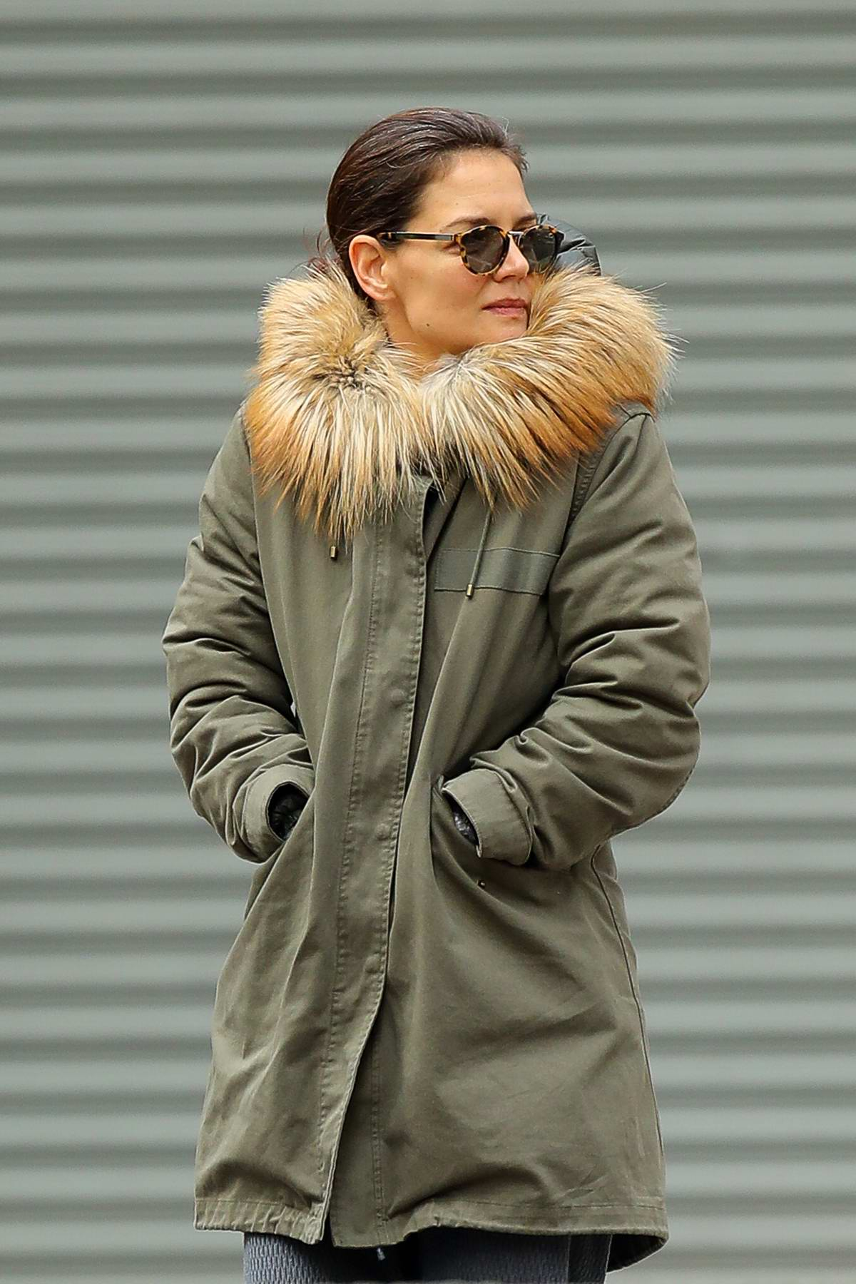 94d64b85ead katie holmes wears a fur-lined parka with ugg boots while out for a ...
