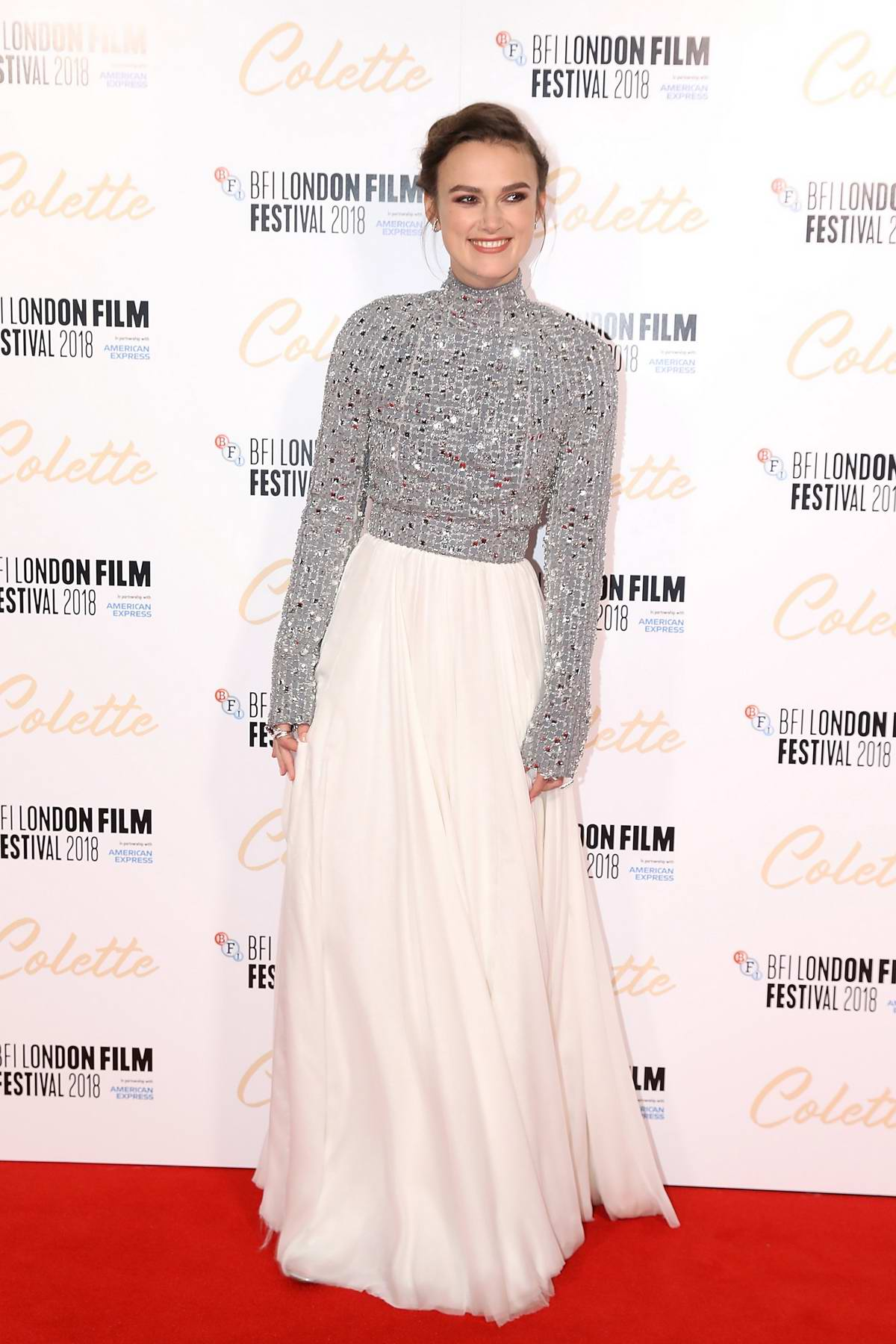 Keira Knightley attends 'Colette' premiere and BFI Patrons gala during the 62nd BFI London Film Festival in London, UK