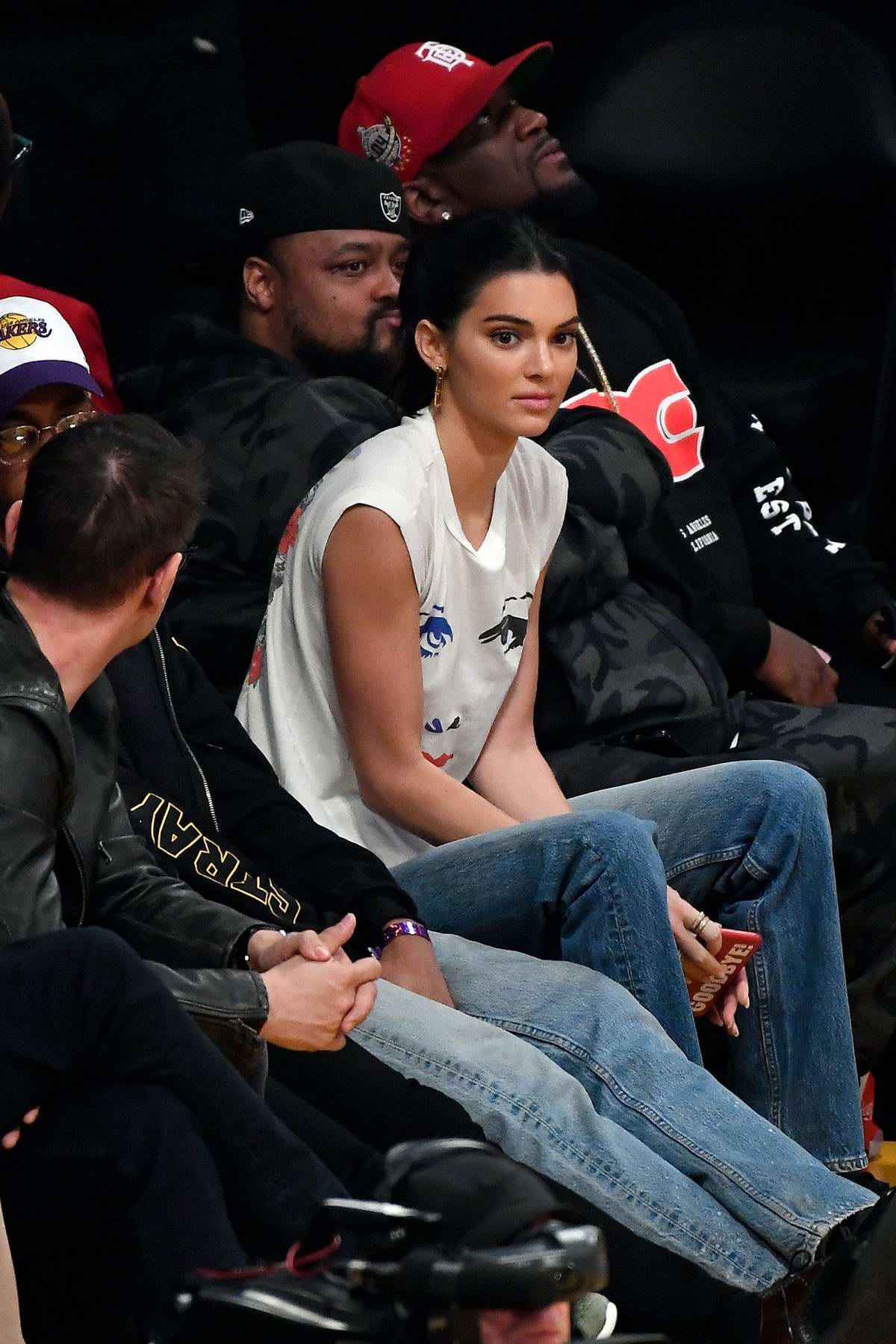 Kendall Jenner attends the Los Angeles Lakers vs the Houston Rockets game at the Staples Center in Los Angeles