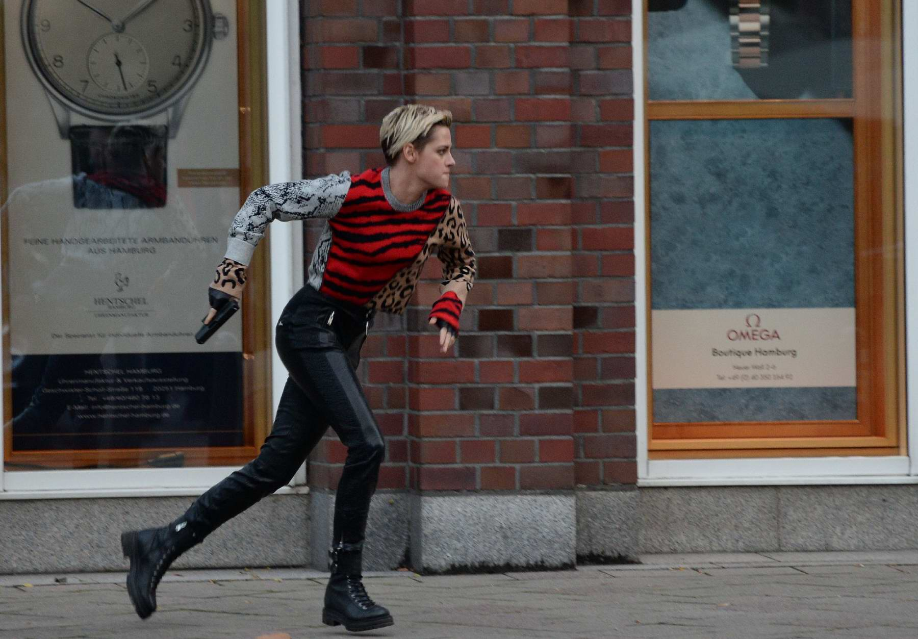 Kristen Stewart spotted while filming an action scene on the set of Charlie's Angels in Hamburg, Germany