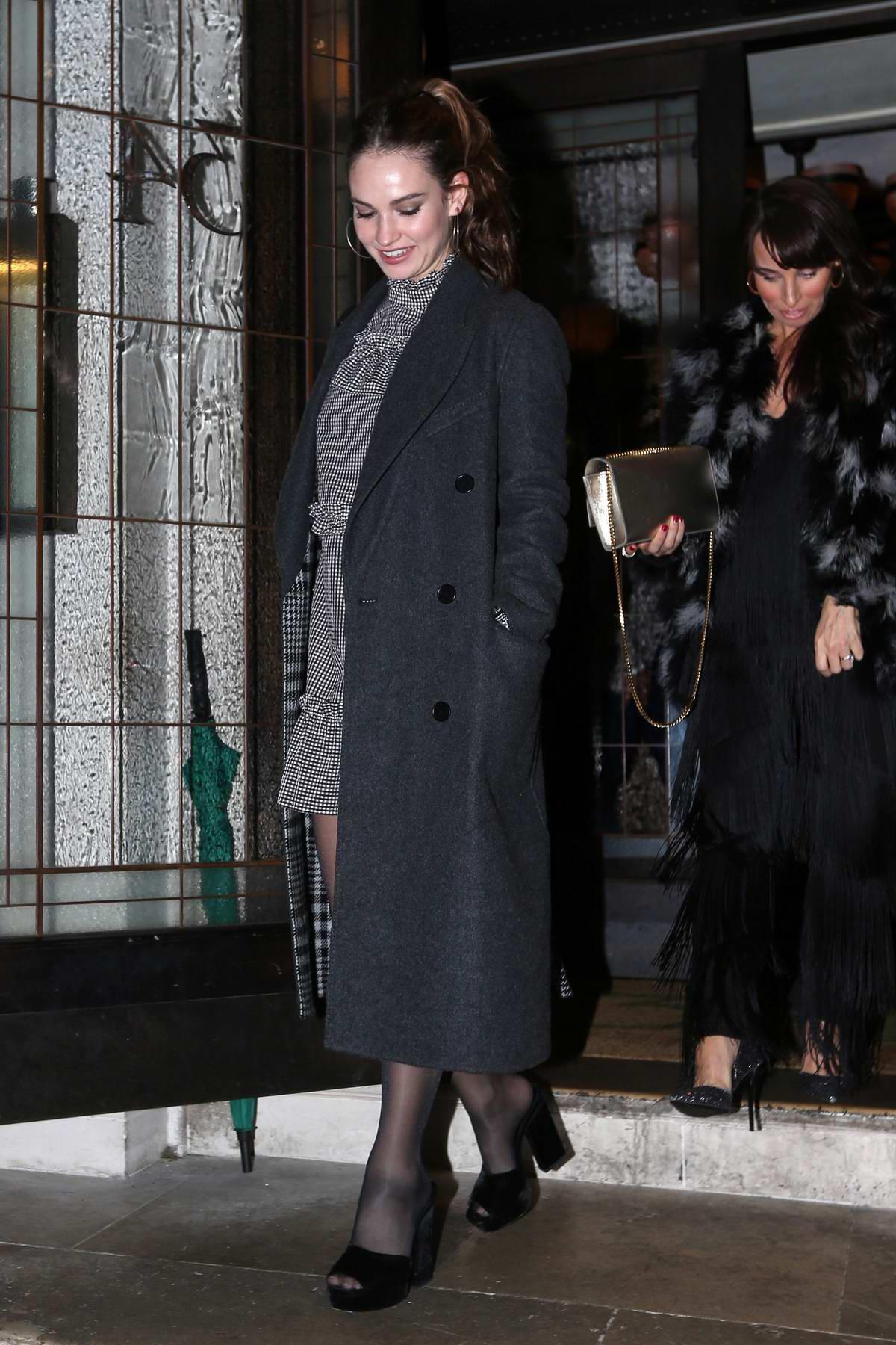 Lily James and Matt Smith seen leaving 34 Restaurant in Mayfair, London, UK