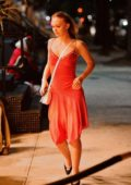 Lily-Rose Depp spotted in a red dress during a night out with her friends in New York City