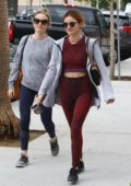 Lucy Hale spotted in maroon activewear as she heads to lunch with a friend in Los Angeles