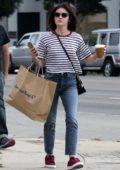 Lucy Hale wore striped tee and jeans while out shopping with friends in Los Angeles