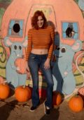 Maitland Ward visits the pumpkin patch to pick out her Halloween pumpkin in Long Beach, California