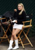 Margot Robbie spotted in a white short skirt and black turtleneck while filming scenes for 'Once Upon A Time In Hollywood' in Los Angeles