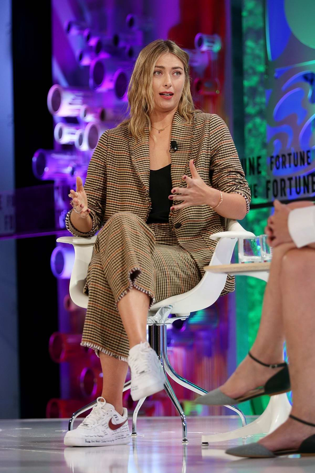Maria Sharapova speaks onstage at the Fortune Most Powerful Women Summit 2018 in Laguna Niguel, California