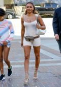 Melanie Brown wears a bodysuit as she arrives with her daughter for a taping of America's Got Talent in Los Angeles