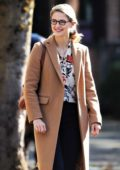 Melissa Benoist is all smiles on the set of 'Supergirl' in Vancouver, Canada