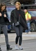 Nadine Leopold covers up in the cold while on her way to the gym in New York City