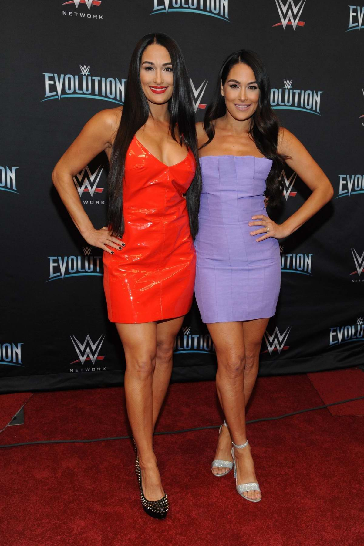 Nikki and Brie Bella attends the WWE's first ever all-women's event 'Evolution' red carpet at the Nassau Veteran's Memorial Coliseum in Uniondale, New York