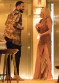Pamela Anderson and Adil Rami return to their hotel after a romantic dinner in Paris, France