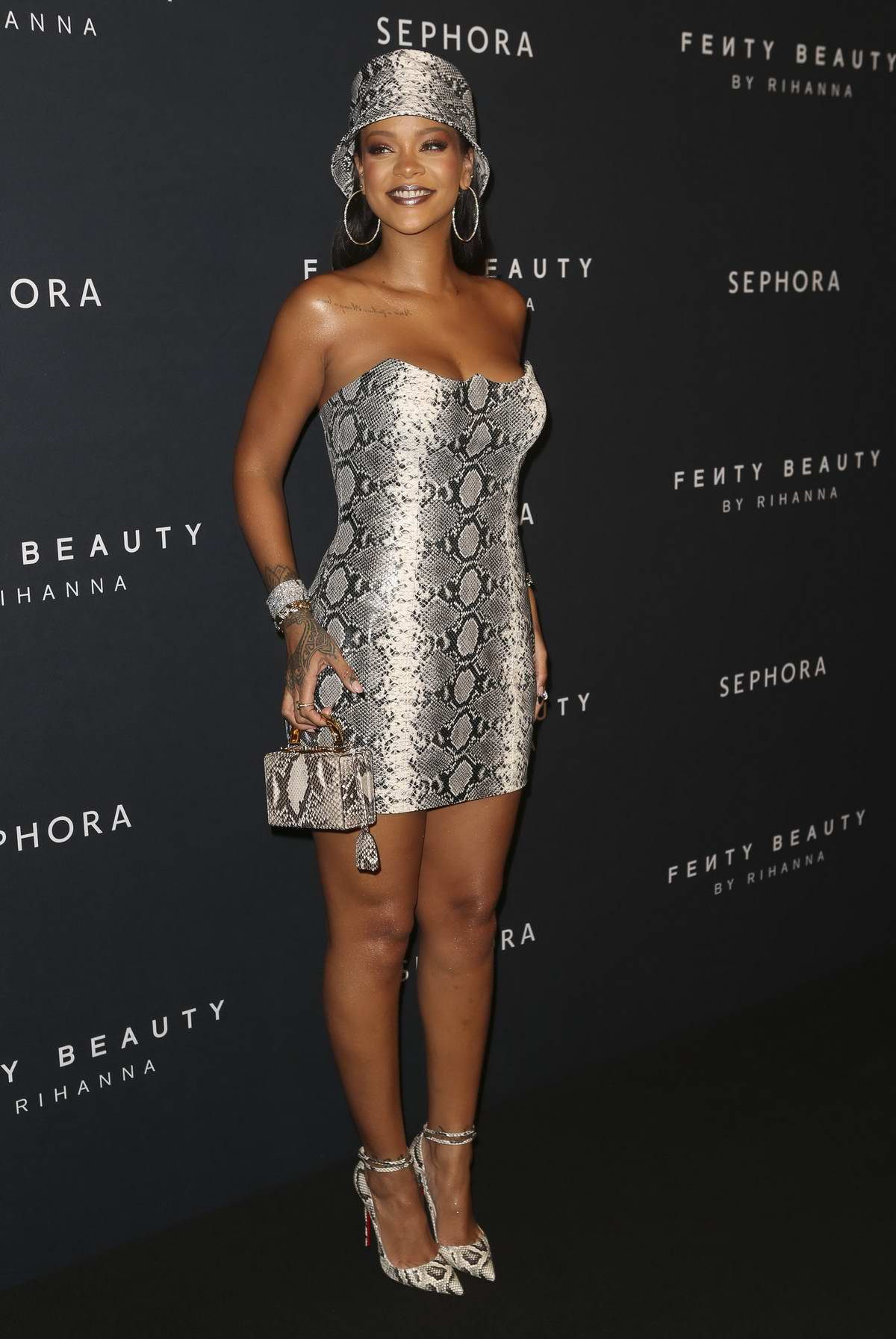 Rihanna attends the Fenty Beauty by Rihanna Anniversary Event at Overseas Passenger Terminal in Sydney, Australia