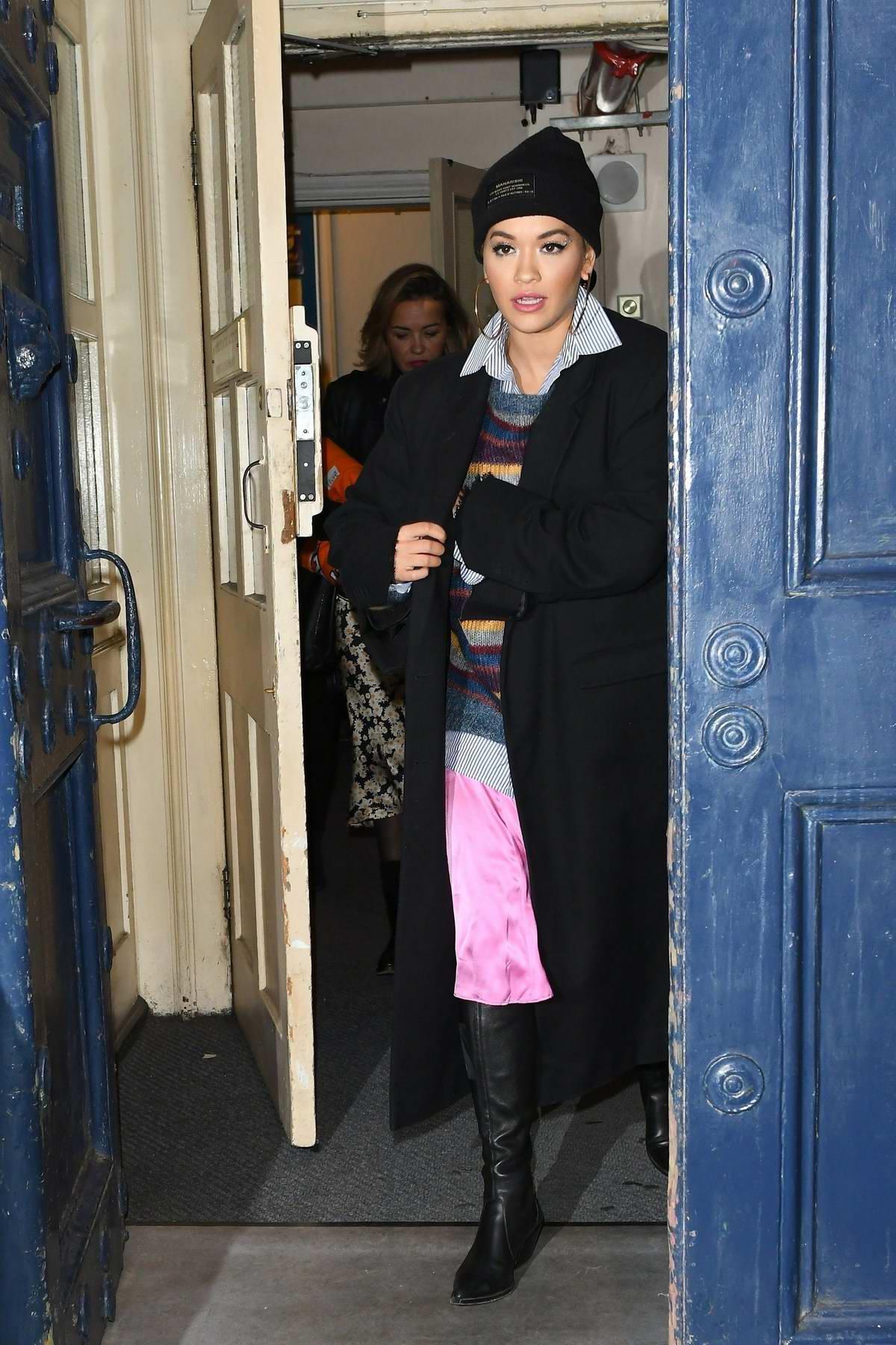 Rita Ora leaving the Royal Drury Lane Theatre in London, UK