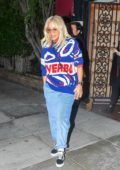 Rita Ora rocks a colorful sweater at Matsuhisa restaurant in West Hollywood, Los Angeles
