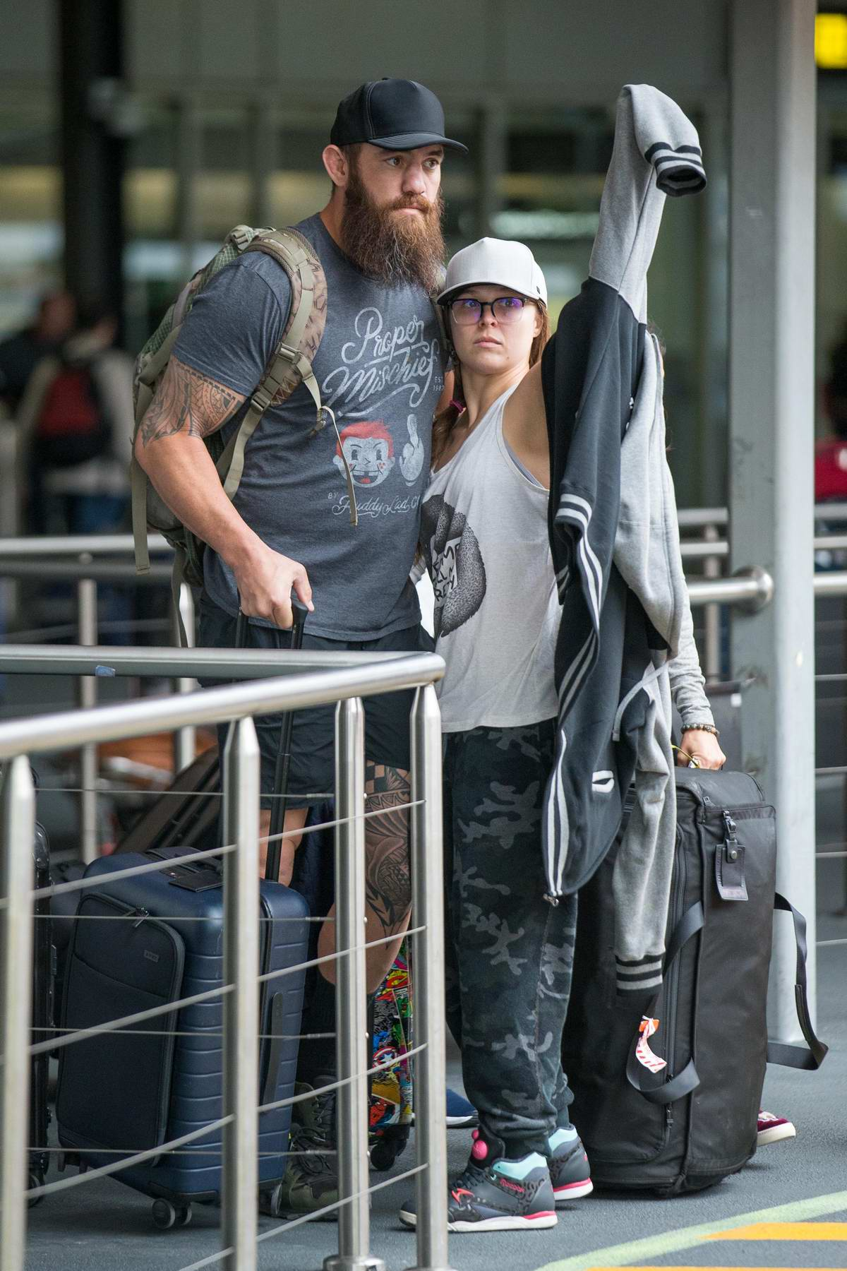 Ronda Rousey and husband Travis Browne arrives into Melbourne airport, Australia