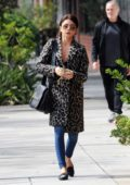 Sarah Hyland wears a leopard coat while out and about in Studio City, Los Angeles