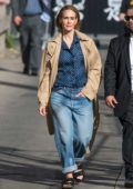 Sarah Paulson seen wearing a camel coat over a blue polka shirt and jeans as she arrives at 'Jimmy Kimmel Live' in Los Angeles