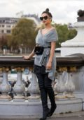 Shay Mitchell poses for photos while out and about in Paris, France