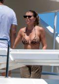 Sofia Richie spotted in a leopard print bikini on a luxury yacht with Scott Disick in Sydney, Australia