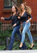 Sofia Vergara seen wearing a formfitting top, skinny jeans with platform heels while directing a photoshoot in New York City
