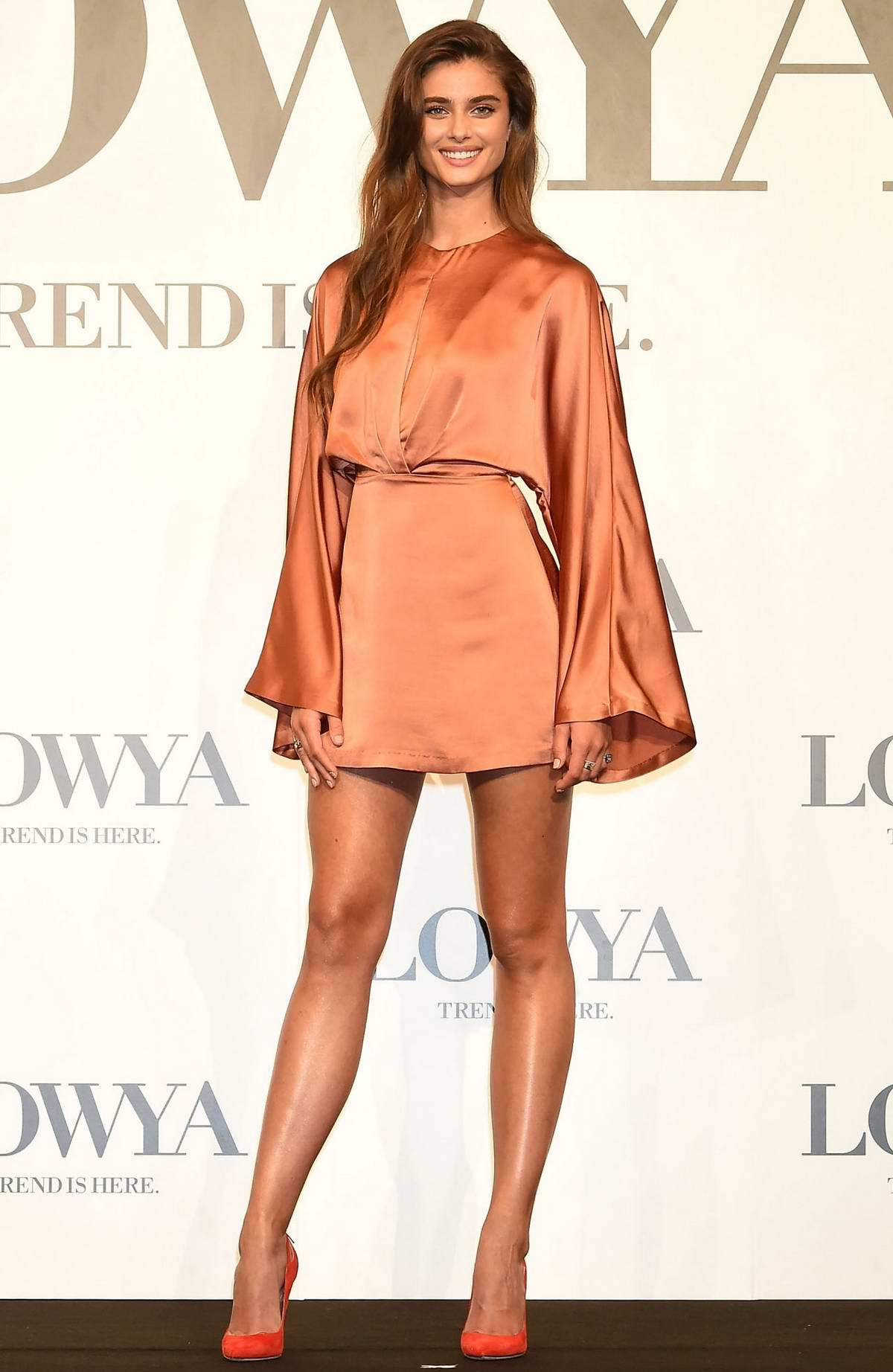 Taylor Hill attends the press conference for furniture and lifestyle brand 'Lowya' in Tokyo, Japan