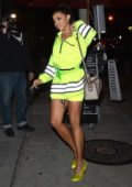 Tinashe sports a neon green ensemble while out to dinner at Craig's in West Hollywood, Los Angeles