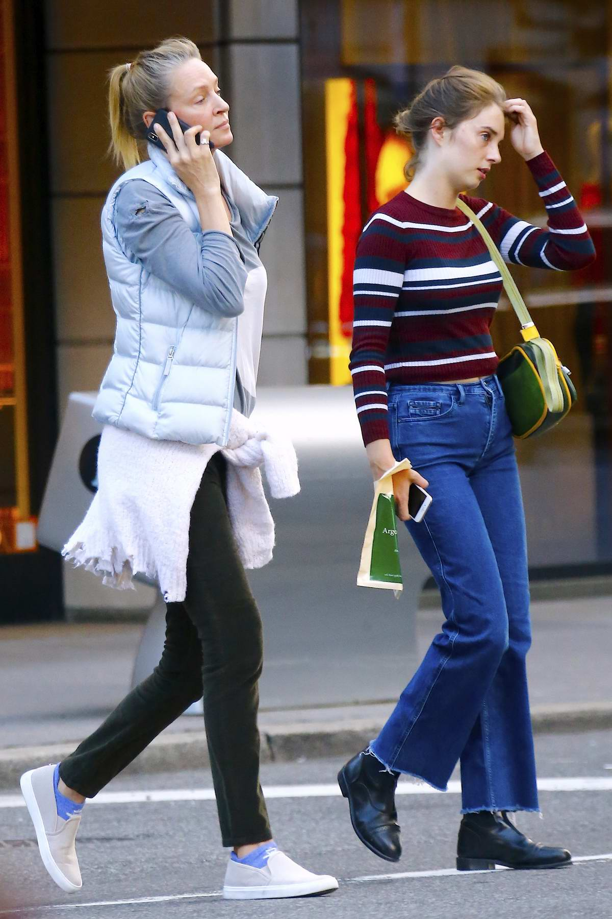 Uma Thurman out for a stroll with her daughter Maya Hawke on Fifth Avenue in New York City