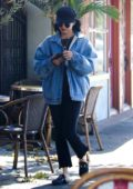 Vanessa Hudgens arrives to get an afternoon coffee at Aroma Cafe in Studio City, Los Angeles