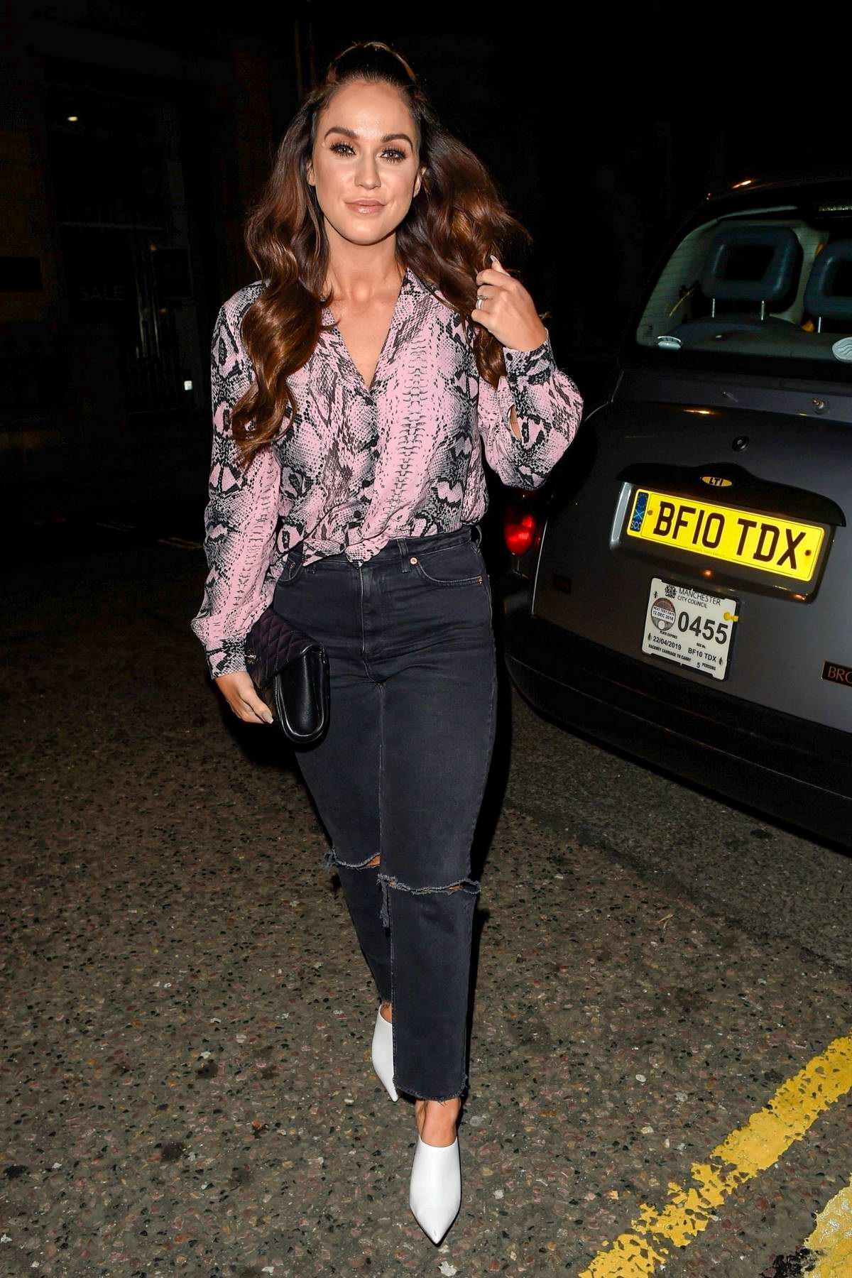 Vicky Pattison enjoys a girls night out at Rosso restaurant in Manchester, UK