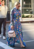 Abbie Cornish wears a blue floral dress while out shopping in Beverly Hills, Los Angeles