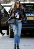 Alessandra Ambrosio is all smiles while out with friend wearing a graphic 'Michael Jackson' t-shirt, leather jacket and ripped jeans in Los Angeles