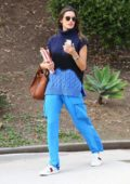 Alessandra Ambrosio rocks all blue as she leaves Smashbox Studio to pick up her kids in Pacific Palisades, California