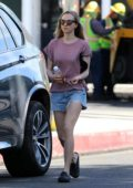 Amanda Seyfried wore a pink tee and denim shorts as she walks back to her car after a spa session in West Hollywood, Los Angeles