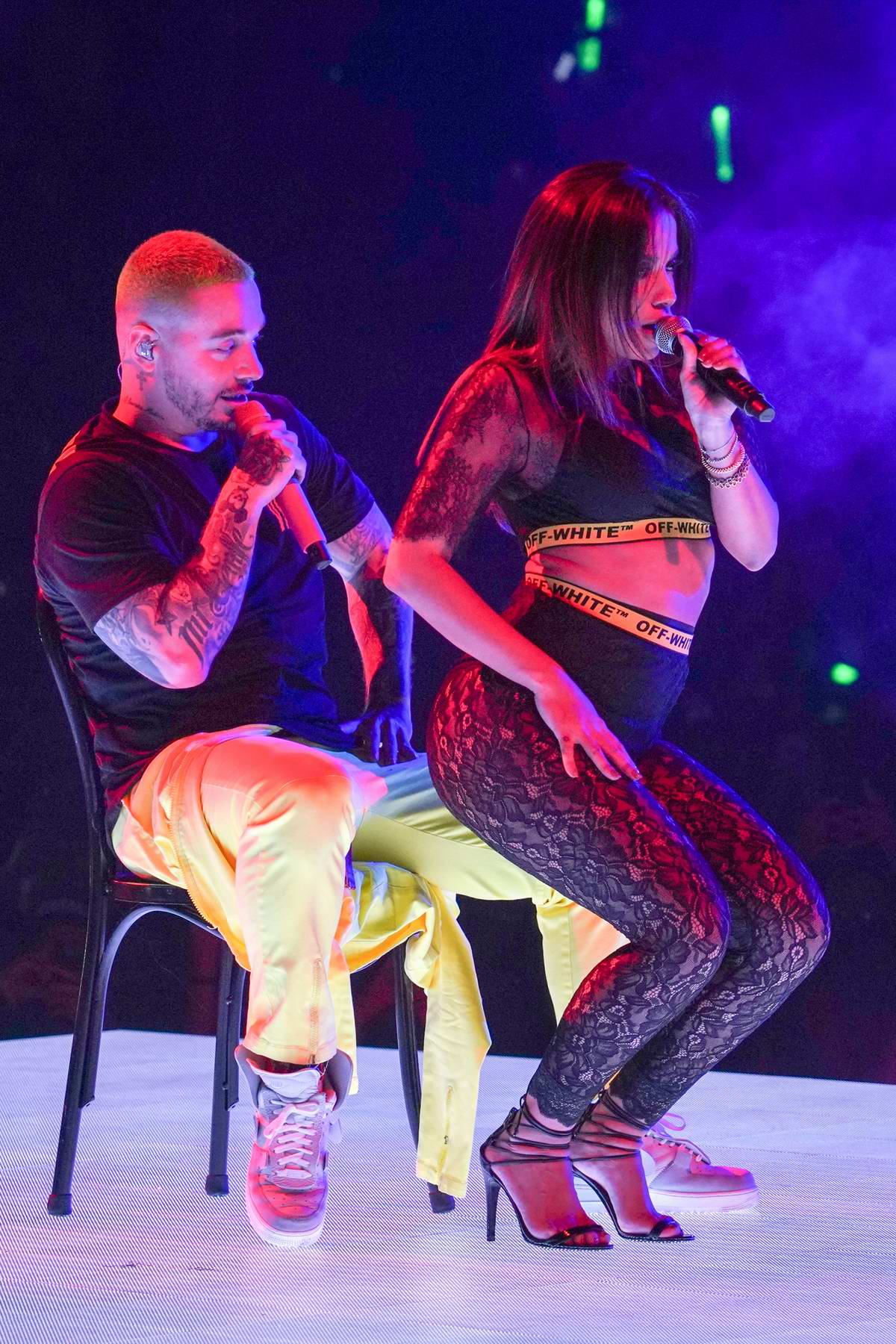 Anitta performs with J Balvin during 'Vibras Tour' at the American Airlines Arena in Miami, Florida
