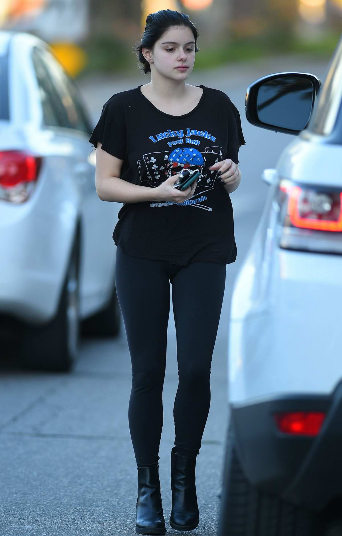 Ariel Winter wears all black as she steps out for an appointment in Los Angeles