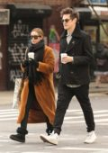 Ashley Tisdale bundles up in long coat and UGG boots as she and Christopher French steps out for warm coffee on a chilly day in Tribeca, New York City
