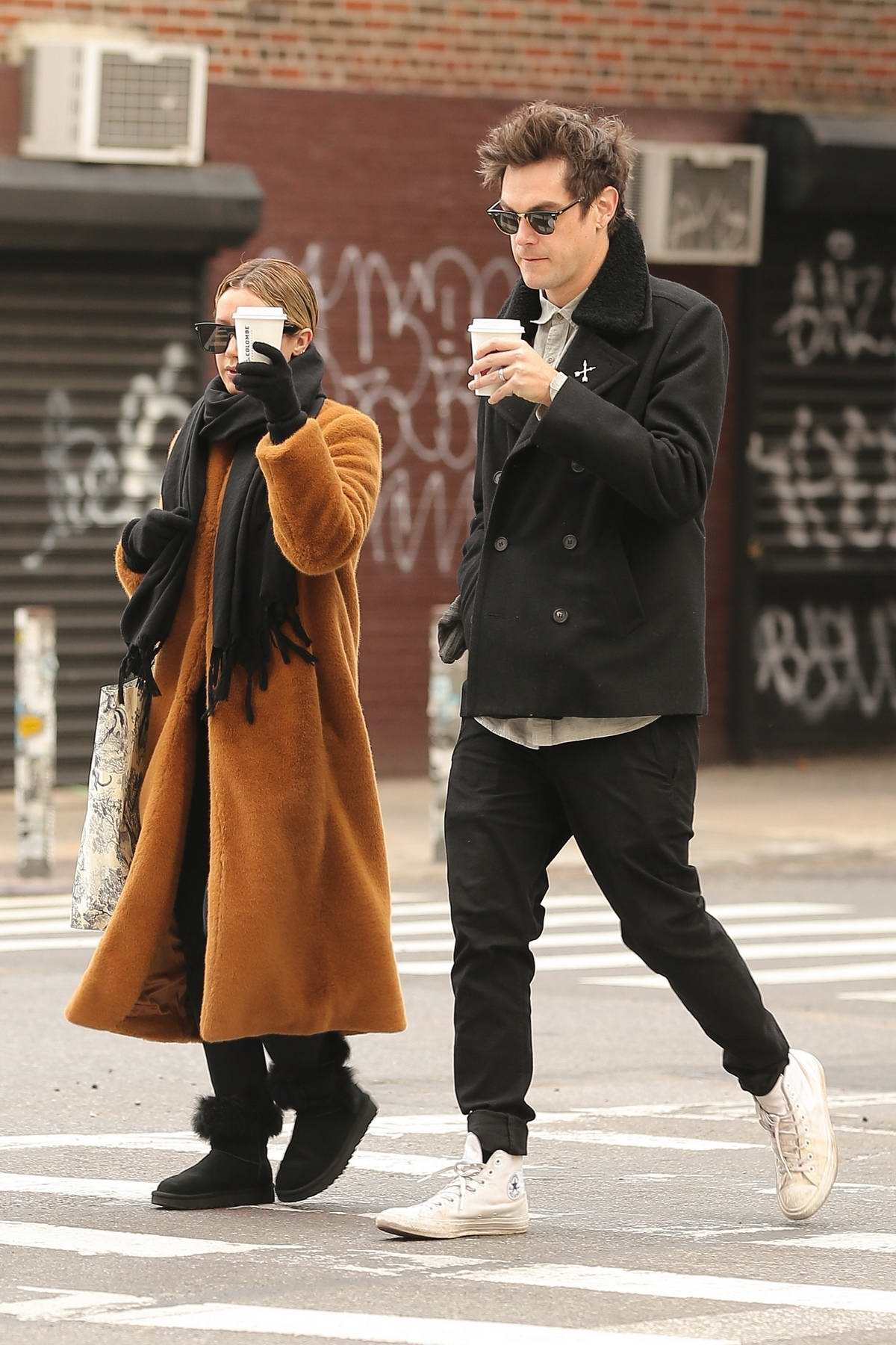 Ashley Tisdale Bundles Up In Long Coat And Ugg Boots As She And Christopher French Steps Out For Warm Coffee On A Chilly Day In Tribeca New York City 211118 4