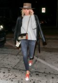 Ashley Tisdale wears grey sweater with leather jacket, jeans and a hat as she dines at Craig's in West Hollywood, Los Angeles