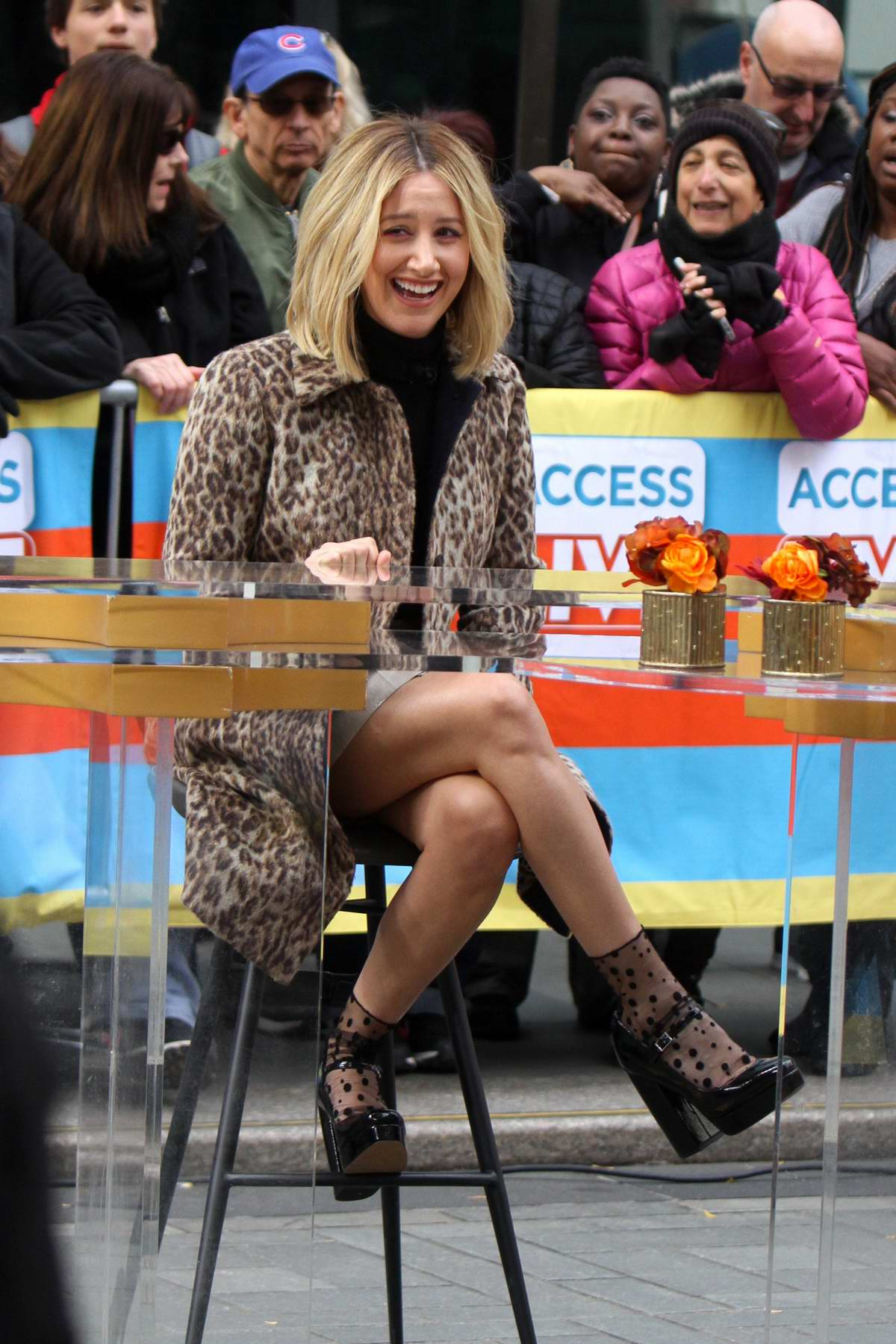 Ashley Tisdale wears leopard print at the 'Access Live' show at the Rockefeller Plaza in Midtown Manhattan, New York City