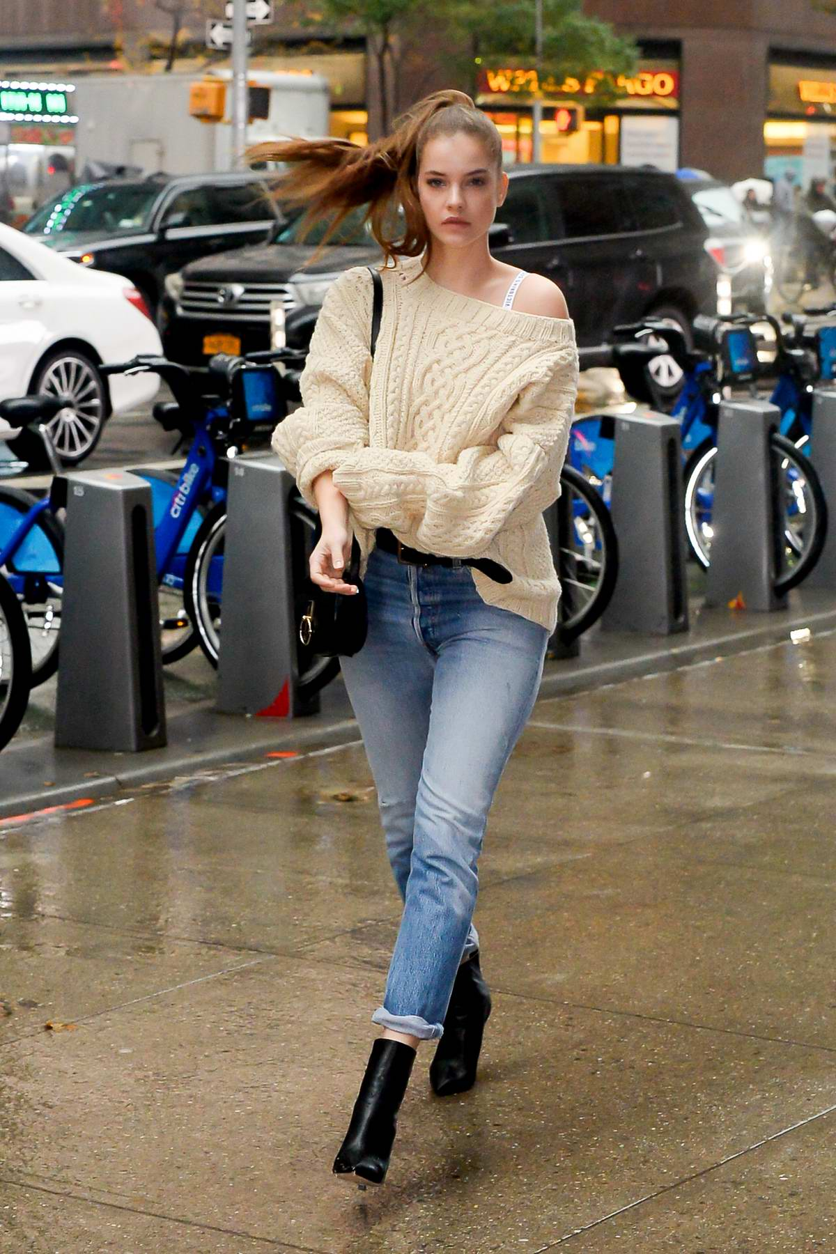 Barbara Palvin Looks Stunning In A Cream Sweater With