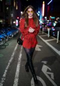 Barbara Palvin rocks a shorts red dress with a pair of thigh high black boots as she attends fittings for the 2018 Victoria's Secret Fashion Show in New York City
