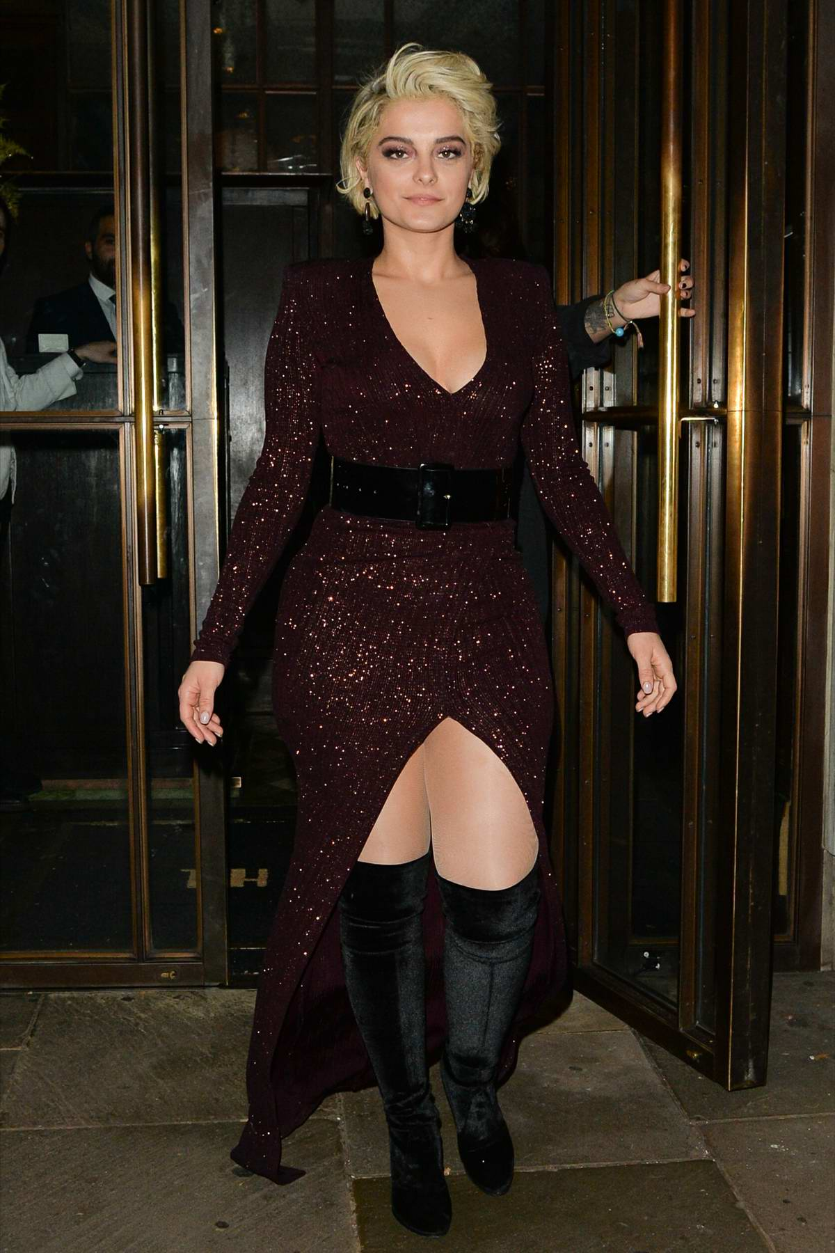 Bebe Rexha looks gorgeous in a burgundy dress as she leaves the Ivy Kensington in London, UK