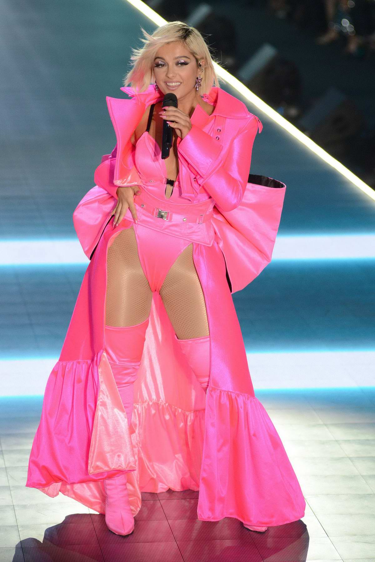 Bebe Rexha performs during the 2018 Victoria's Secret Fashion Show at Pier 94 in New York City