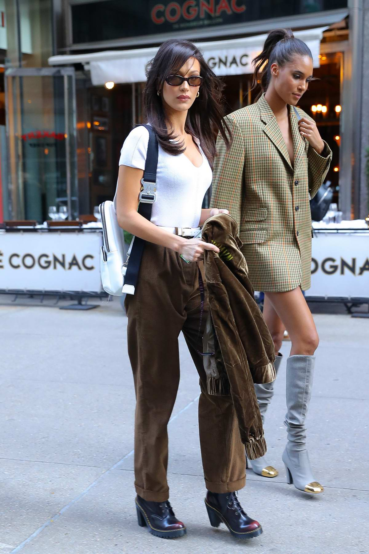 Bella Hadid and Cindy Bruna seen leaving Victoria's Secret offices in New York City